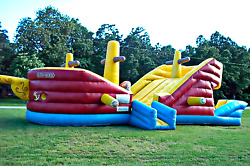 30x10x12 Commercial Inflatable Pirate Ship Bounce Water Slide Obstacle Course