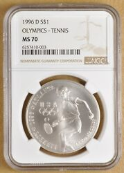1996 D Olympic Tennis Commemorative Silver Dollar Ngc Ms70