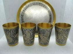 Rare Set Vintage Ussr Niello Gilt Sterling Silver 875 Tray 4 Cups Hunting 296 Gr