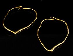 And Co Elsa Peretti Vintage Large 18k Yellow Gold Open Heart Hoop Earrings