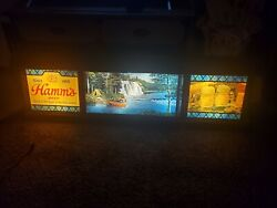 Rare Vintage Hamm's Beer Scene-o-rama Campfire Waterfall Scrolling Motion Sign.