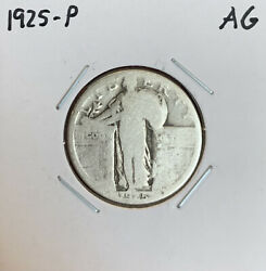1925-p Standing Liberty Quarter - Ag - About Good - 90 Silver