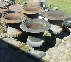 Set Of 4 Matching Cast Iron Urns 24 Inches Tall 19 Inches Wide