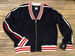 Nwt Womenandrsquos Champion Terry V-neck Red White Navy Blue Racing Stripe Zip Jacket L