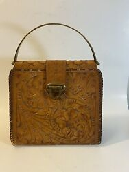 Leather Purse Hand Tooled Roses Brass Handles And Latch Vintage 1940/50s Handbag