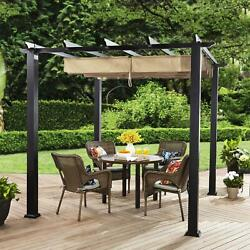 Steel Pergola Gazebo Adjustable Gliding Canopy 9and039 X 9and039 Black-tan Outdoor Patio