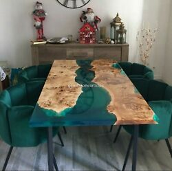 Green Resin Epoxy Acacia Wooden Dining Custom Table Tops Handmade Décor Gifts