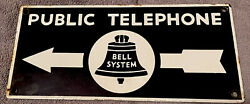 Original Double Sided Porcelain Sign Advertising Bell System Telephones