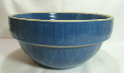 Ruckels Whitehall Pottery Primitive Antique Blue Stoneware Bowl 10 Unmarked Gc