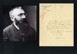 French Sculptor Auguste Rodin Autograph, Handwritten Letter Signed And Mounted
