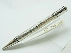Parker Duofold Presidential Esparto Sterling Silver Ballpoint Pen New In Wood Bx