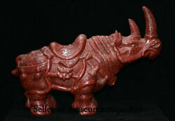 23.2 Unique Old Red Lacquerware Dynasty Rhinoceros Ox Cattle Statue Sculpture