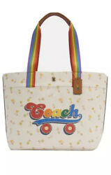 NEW Coach Rainbow Roller Skate Tote Bag Canvas Leather Chalk NWT Style C4099 $160.00