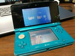 Nintendo 3ds Original Ctr-001 Aqua Blue Teal Tested Works Scratches And Dents