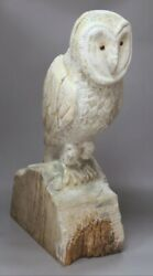 Beautiful Large Carved Wood Barn Owl Sculpture 🦉