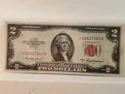 1953a Red Seal Star Note 2 Two Dollar U.s. Note, Bill Au