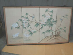 Vintage Chinese Japanese 4 Panel Folding Screen Painted 59x34.5 Antique