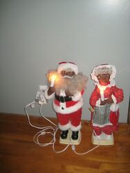 Rare 1996 24 Mr And Mrs Santa Claus African American Motionettes Animated Dolls