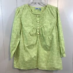 Izod Citrine Green Floral 3/4 Sleeve Babydoll Relaxed Fit Button Up Blouse Top M