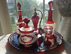 Antique Victorian Eraruby And Frost Perfume Vanity Set Absolutely Czechtacular