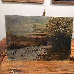 Gorgeous Antique American River Sierra Foothills Oil Painting