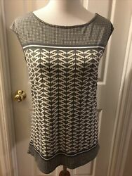Max Studio S Small Women's Top Pullover Shirt Gray Cap Sleeve Stretch $12.99