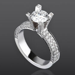 Round Shape Diamond Solitaire And Accents Ring 2.92 Ct 14 Karat White Gold Women
