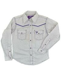 Girls' Cowgirl Hardware Purple Geo Print Embroidered Horse Long Sleeve Snap