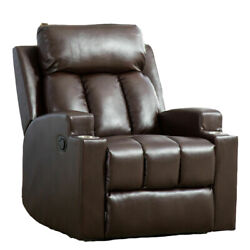 Glider Rocking Recliner Chair Cushions W/ Cup Holders Breathable Leather Sofa