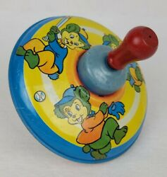 Vintage Tin Litho Spinning Top The Ohio Art Company Antique Old Childrens Toy