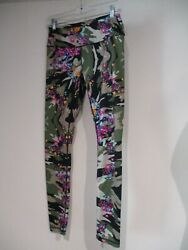 Nicole Miller Green Camo Colorful Small Floral Yoga Atheltic Pants Sz S