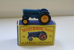 Matchbox Lesney 72a Fordson Tractor W/ Rare Yellow Wheels Nm- Original Color Box