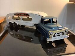Vintage Marx Auto Transport Truck And Trailer , Pressed Steel Toy Vehicle