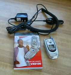 Lg Vx6100 Verizon Wireless Flip Silver Cell Phone Vga W/ Charging Cords And Guide