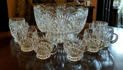 Vintage Shannon Crystal Punch Bowl With 8 Cups Godinger Freedom Fan Arches