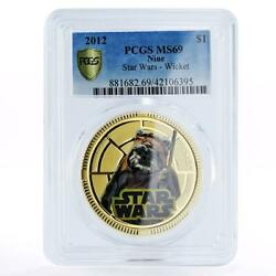 Niue 1 Dollar Star Wars Series Wicket Ms69 Pcgs Gilded Copper Coin 2012