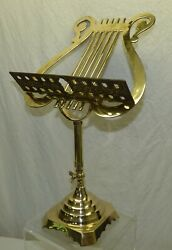 Polished Brass 19 1/4 Tall Table Top Music Stand Lyre Harp Shape Not Adjustable