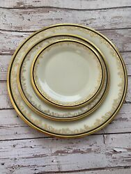 Lenox Eclipse 3pc Place Setting Dinner Salad Bread/butter Plates Black Gold