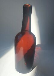 Antique Western Whiskey Bottle Reddish Puce Applied Top