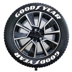 White Goodyear Tire Lettering Permanent Sticker 15''-24'' 8 Sets 1.38''