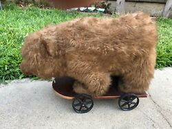 Vintage Stuffed Toy Bear On Wooden With Cast Iron Wheels Pull Toys