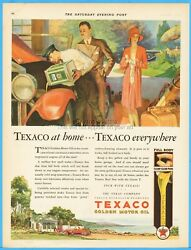 1929 Texas Company Texaco Golden Motor Oil 1920and039s Couple Woman In Cloche Hat Ad