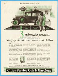 1929 Cities Service Oils And Gasolene Gasoline 1920's Gas Station Pump Globe Ad