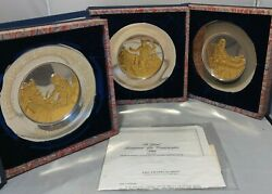 Franklin Mint Bicentennial Limited Edition 1973-1976 Solid Silver Plates Set 3