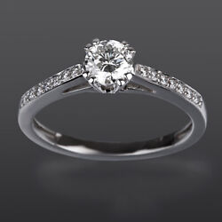 Channel Set Solitaire Accented Diamond Ring 1.14 Carats 18k White Gold Colorless