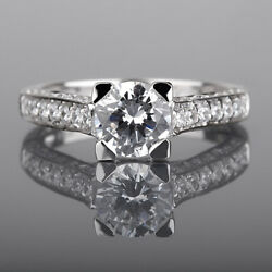 4 Prong Round Diamond Ring Natural 1.97 Carats 14 Kt White Gold Side Stones