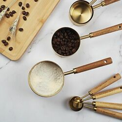 Measuring Spoon Kitchen Baking Accessories Wooden Handle Stainless Steel Spoon