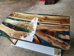 Handmade Epoxy Transparent Blue Furniture Dining Table Special Wood Working Déco
