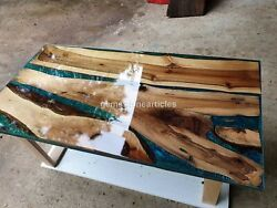 Epoxy Transparent Blue Furniture Dining Table Top Mappa Burl Acacia Wooden Decor