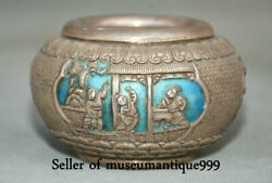 6 Old Chinese Silver Dynasty People Official Pot Crock Writing Brush Washer